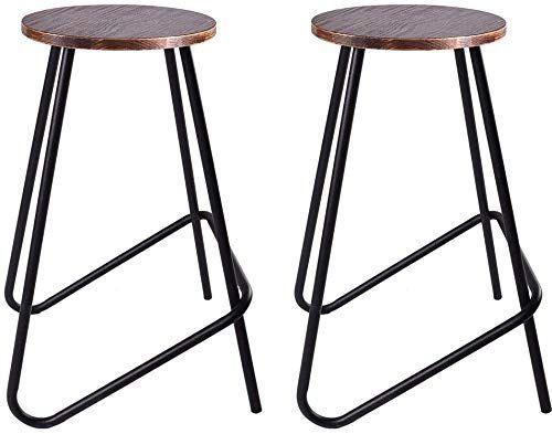 Best Seller Bokkolik Set 2 Vintage Bar Stools Retro Wood Seat