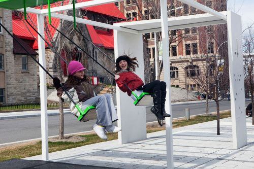 In Montreal there are swings that play music and if you swing together they will play a song!