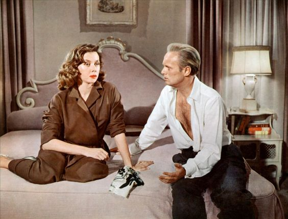 THE COBWEB (1955) - Richard Widmark (pictured) - Lauren Bacall - Charles Boyer - Gloria Grahame (pictured) - Lillian Gish - John Kerr - Susan Strasberg - Oscar Levant - Tommy Rettig - Based on novel by William Gibson - Produced by John Houseman - Directed by Vincente Minelli - MGM - Publicity Still.