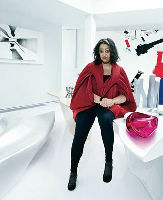 Zaha Hadid in her house: