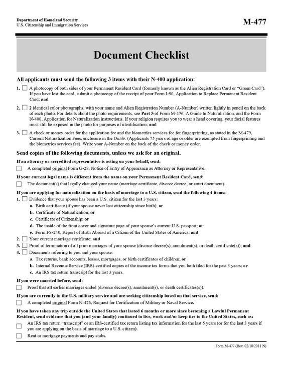 Form M-477 Page 1 Citizenship and Naturalization Pinterest - citizenship form