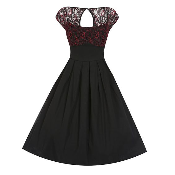 Verona&-39- Black Red Lace Swing Dress - Beautiful- Lace and Vintage