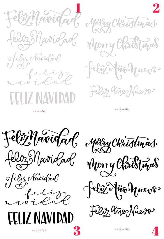 Plantillas De Lettering Navideñas Paspartú Plantillas Lettering Plantillas De Letras Letras Del Alfabeto Para Impresión