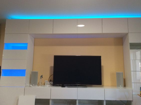 IKEA Besta wall unit. Doing a bit testing with the help of lighting from some inexpensive RGB LED strips.