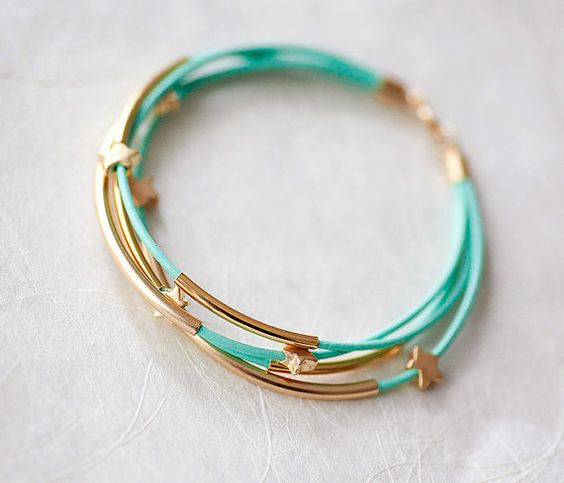 Mint Green Leather Bracelet with Mat Golden Small Stars and Tubes by pardes…
