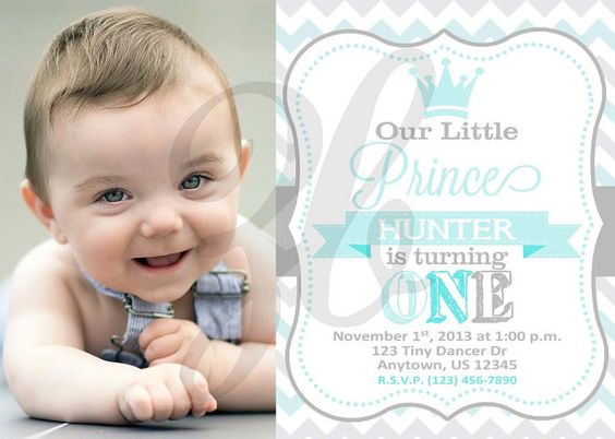 Little Prince Birthday Invitation Boy First Birthday Light Baby ...
