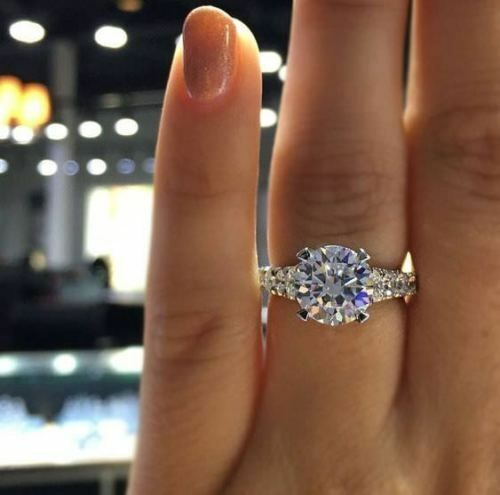 925 Sterling Silver Engagement Ring in Solid  2.55ct White Cushion Diamond