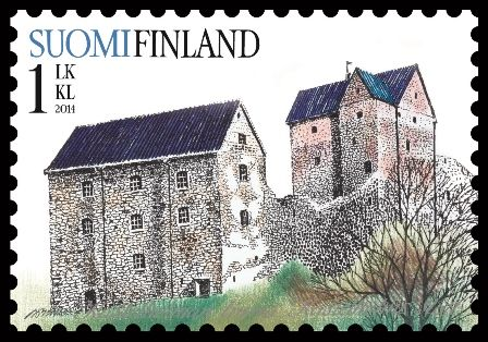 Schloss Kastelholm , is a Swedish-built medieval castle, circa 1384, in Sund, Åland, Finland . Old castles. Post stamp from Finland , circa 2014 .