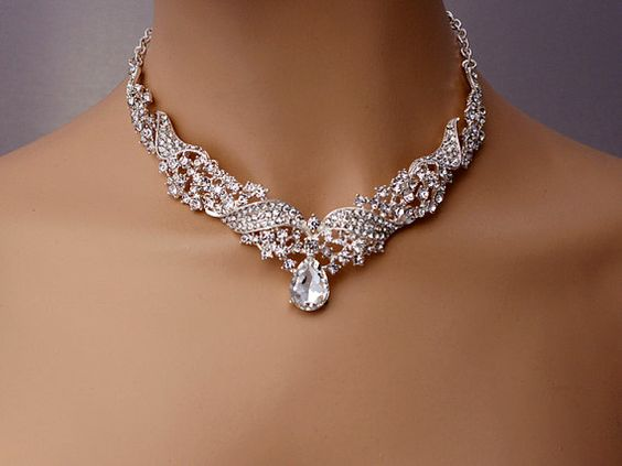 Wedding drop jewelry set,Sparkling rhinestone V neckline necklace earrings,V shape jewelry set, Bridal jewelry set,Dangle earrings, Sliver