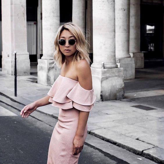 @theserenagoh enjoying P A R I S in @keepsakethelabel 'Two Fold Midi' dusty pink // Get yours online now  only 1 size XS left now. #keepsakethelabel #keepsake #pinkdress