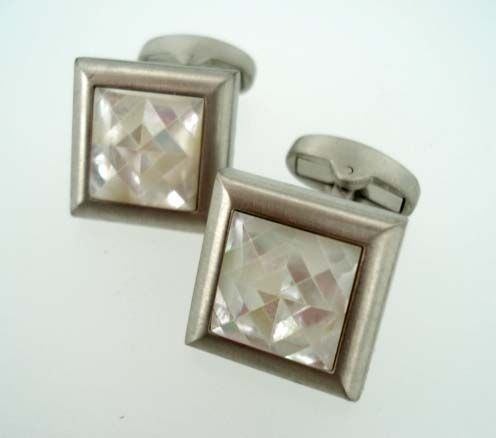 Brushed Stainless Steel Pearl Mosaic Cufflinks