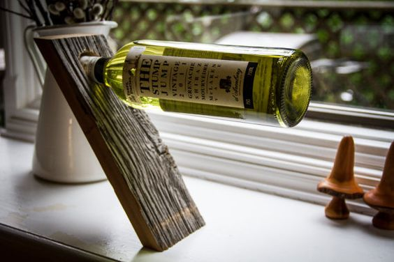 Wine Bottle Stand / Holder, Crafted from Rustic Reclaimed Barn Board - Great gift!: