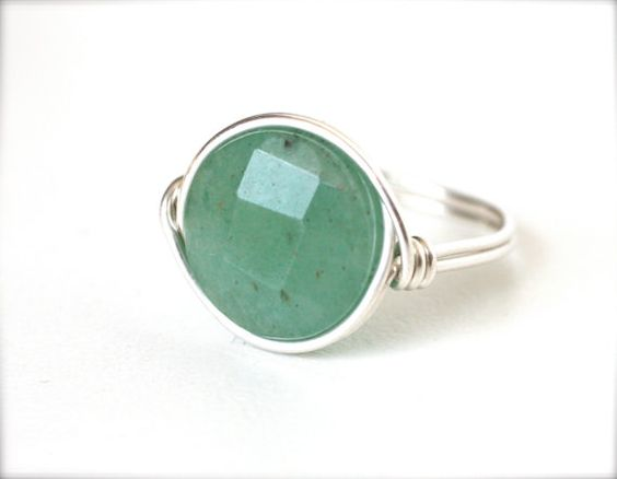 Green Amanzonite Cocktail Ring Sterling Silver by WrennJewelry, $18.00