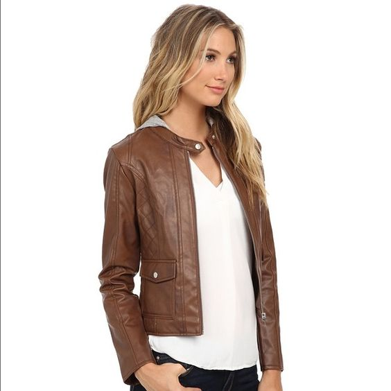 BB Dakota Brown Tash Hooded Vegan Leather Jacket NWT   Pinterest ...