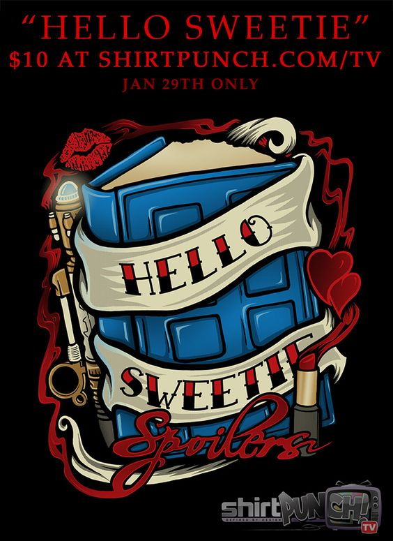 """""""Hello Sweetie"""" by OfficeInk & TrulyEpic is now available here if anyone missed the sale: http://www.redbubble.com/people/ameda/works/11470509-hello-sweetie-t-shirt #TIMELORD #TheDoctor #DoctorWho #HelloSweetie #RiverSong #OfficeInk #Trulyepic #Spoilers"""