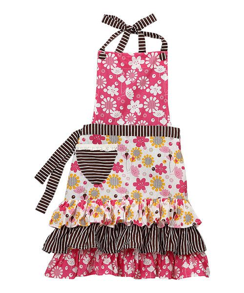 There's+no+reason+fashion+and+food+can't+come+together+in+the+kitchen.+This+colorful+apron+features+a+pocket+in+front+and+ties+in+the+back+that're+sure+to+satisfy+a+chic+cook's+craving+to+look+polished+no+matter+what's+on+the+menu.