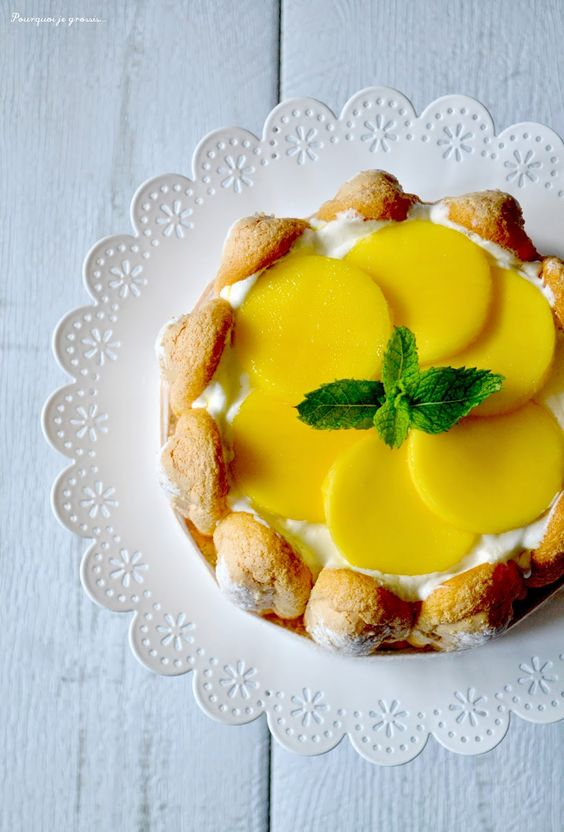 Charlotte glacée aux mangues & à la menthe. Mango & mint frozen ...