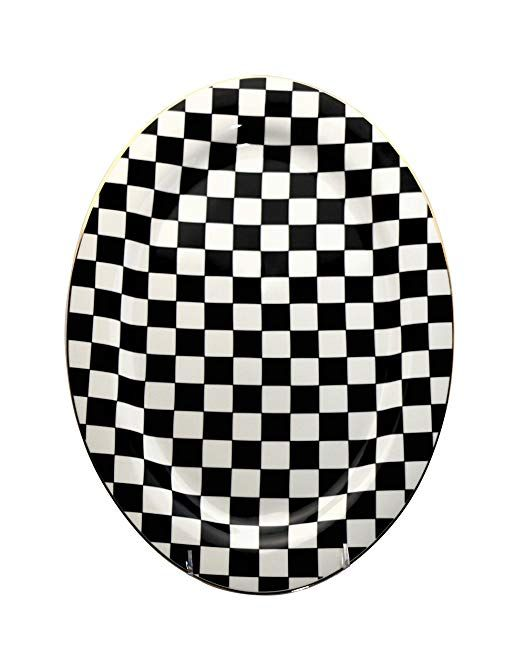 """Oval China Serving Platter Set of 2 Checkered Flag Pattern 14/"""" x 10/"""""""