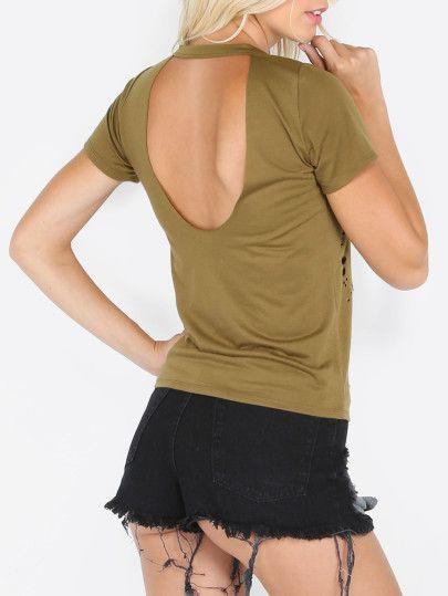 Camiseta manga corta con roturas sin espalda-Sheinside