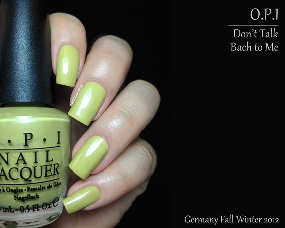 "Don't Talk Bach to Me is a very unusual muted chartreuse green with a subtle silver shimmer running through. It definitely is one of those ""fugly"" colors that the mainstream customers will not be attracted to but I am haha. I also had to use 2 careful coats here."