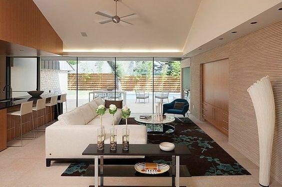 wohnzimmer schön gestalten - weißes sofa mit einem runden - modernes wohnzimmer ideen