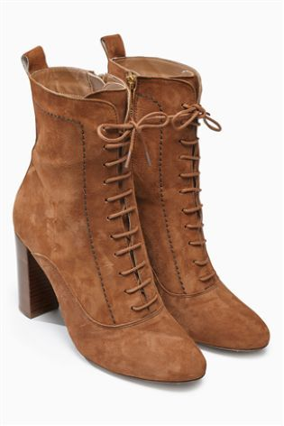 Buy Leather Material Mix Lace Up Ankle Boot from the Next UK ...