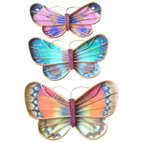 Vintage Rattan  Fabric Butterfly Wall Art - Set of 3 ($54) ❤ liked