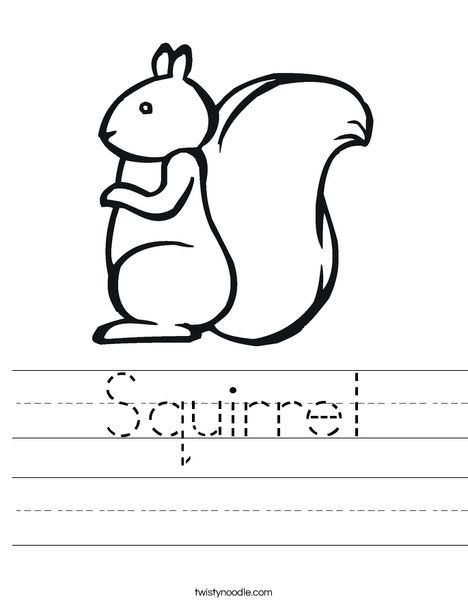 Squirrel Worksheet from TwistyNoodle.com | LETTER S ...