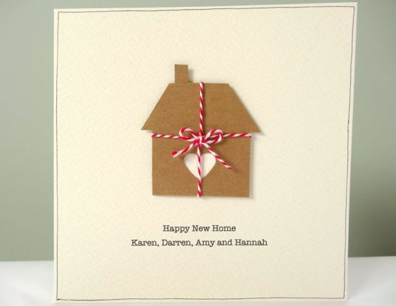 Personalized New Home Card - rustic housewarming cards - personalised happy new home - cream brown - recycled eco cards - house warming