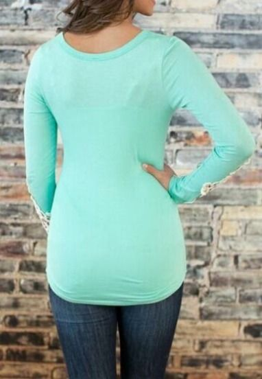 Sky Blue Scoop Neck Lace Long Sleeve Slim Blouse -SheIn(Sheinside) Mobile Site