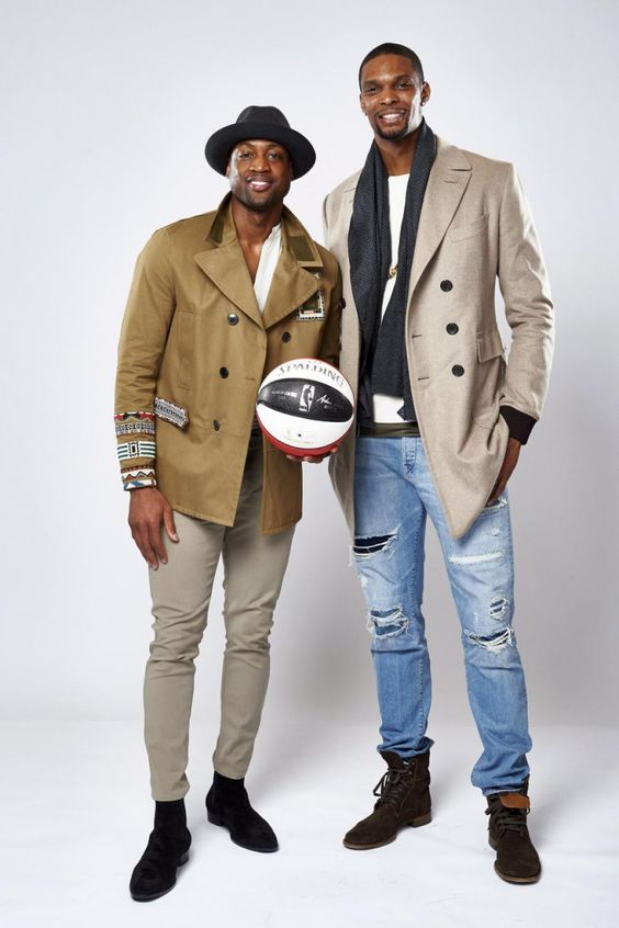 Dwyane Wade #3 and Chris Bosh #1 of the Miami Heat pose for a portrait during NBA All-Star Weekend on Feb. 12, 2016 at the Sheraton Centre in Toronto, Ontario Canada.