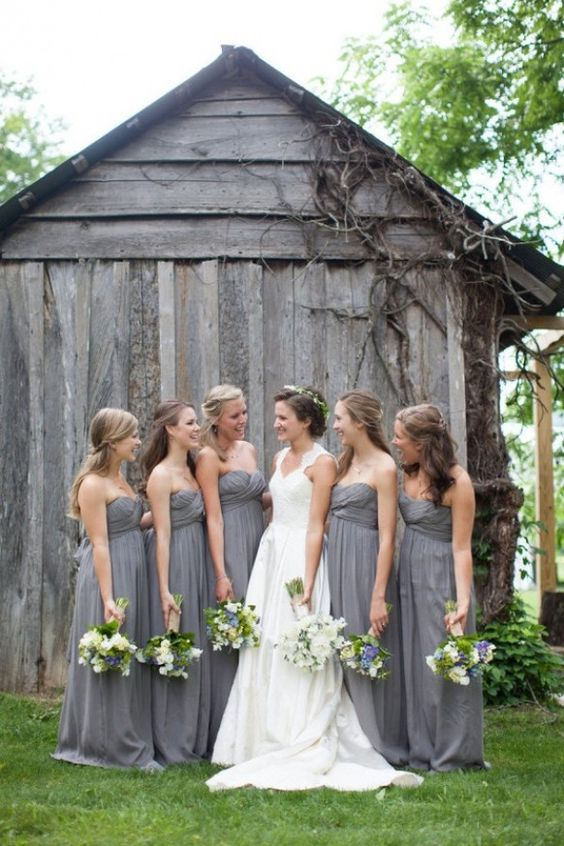 maxi grey bridesmaid dresses @Jenn L Payne @Sami Cronin Christianson I like the grey with the bride but with coral flowers