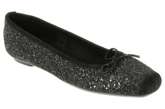 Ballerines REQINS, référence Harmony Sparkle. Coloris paillettes noir.   En vente sur Chausty.com.