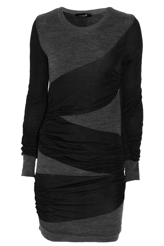 Miri Sweater Dress by Isabel Marant: Made of merino wool with ruched stretch jersey. #Sweater_Dress #Dress #Isabel_Marant