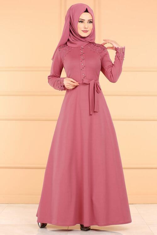Modaselvim Elbise Dantel Detay Tesettur Elbise Pl828 Gul Kurusu Gaun Gadis Kecil Pakaian Gaun Panjang