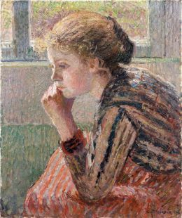 Camille Pissarro: Head of a young girl in profile...   Miss Folly