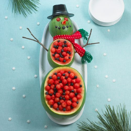 How to Make a Watermelon Snowman.  Filled with fruit salad of melon balls & blueberries.  Fun for Christmas or a Christmas in July celebration.
