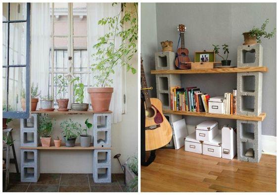 Algo tan básico como los bloques de hormigón pueden convertirse en la base de muebles de terraza o de una mesilla de noche.