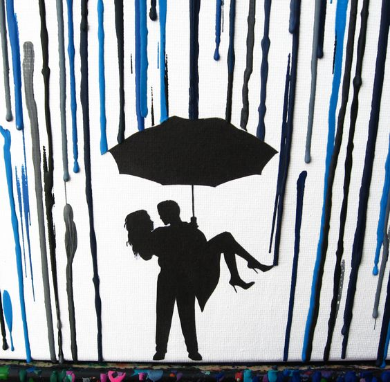Rainy Day In The Rain, Melted Crayon Art, Silhouette Art