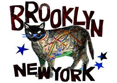 Brooklyn cat Art Print by pinkypilotsart on Etsy - $7.00-$25.00 USE code PIN10 FOR 10%off  - #Brooklyncatart  #blackcatnewyorkdecor #catprint