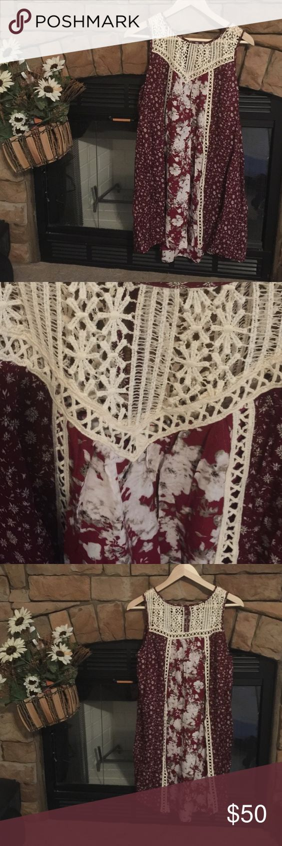 maroon floral print dressboutique maroon floral print dress has a small high low effect great attention to detail