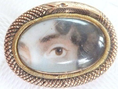 Fine Georgian Lovers Eye Miniature in A Coiled Snake Rose Gold Brooch