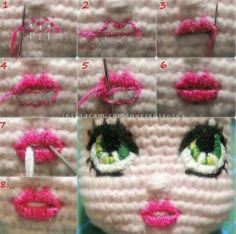 Hand Embroidery of Eyes and Mouth for Crochet Doll Bella - YouTube   476x480