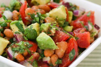 Pinto Bean Salad Recipe with Avocado, Tomatoes, Red Onion, and Cilantro