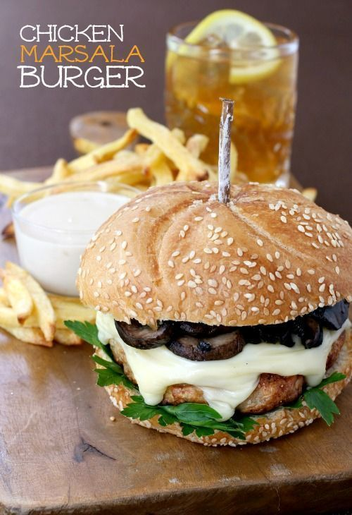 A juicy chicken burger topped with marsala mushrooms and cheese.