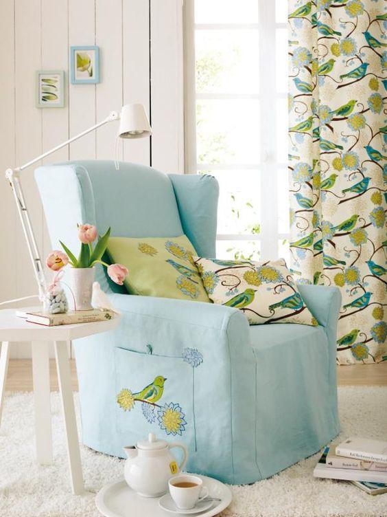 wohnideen: aus alt mach neu | chairs, slipcovers and bird fabric, Wohnideen design