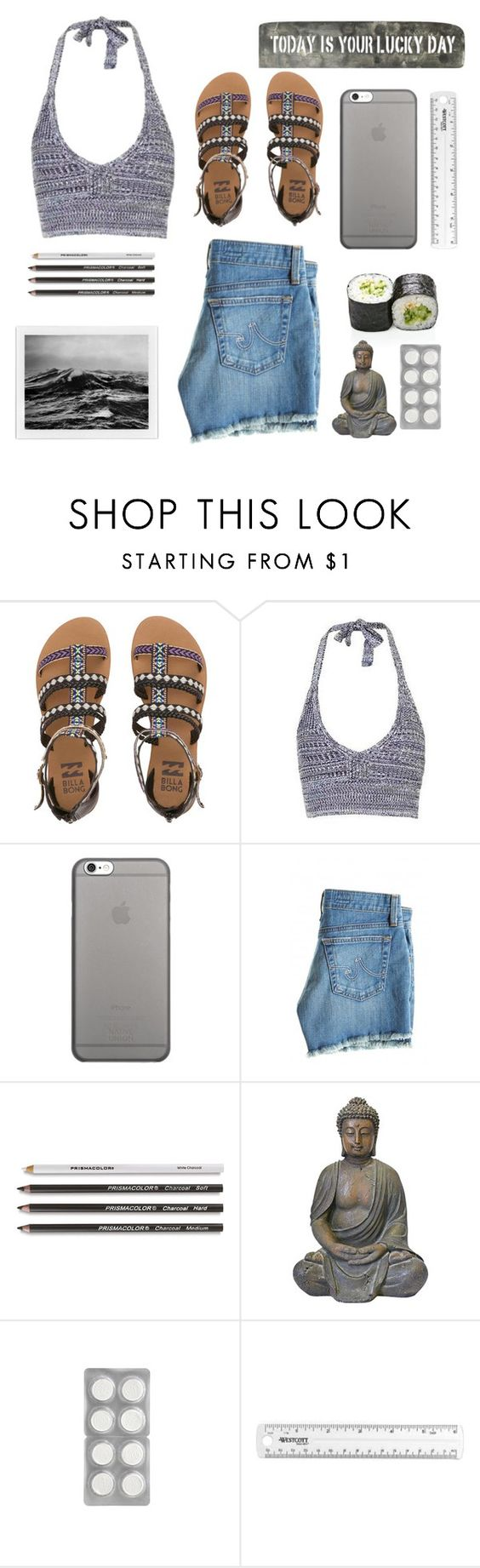 """""""lucky grey"""" by sandraa-jwoww on Polyvore featuring Billabong, Topshop, Native Union, AG Adriano Goldschmied and Sugarboo Designs"""