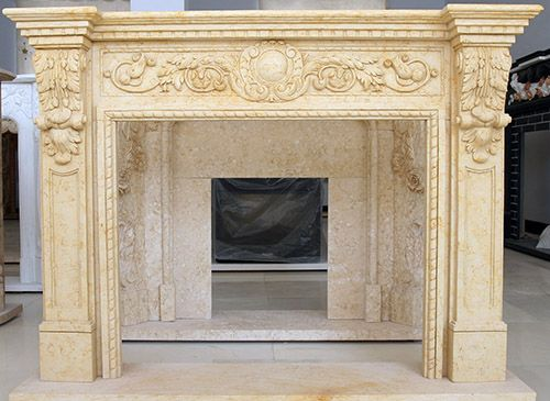 Grecian Marble Mantel Natural Stone Fireplace French Style