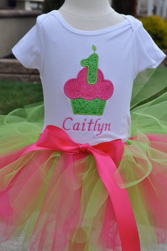 Hot Pink and Lime Green Cupcake Birthday Tutu Set by DesignsbyTTCT, $32.00