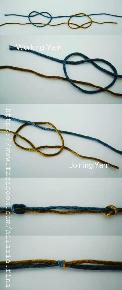 Knitting Joining Yarn Double Knot : Magic knot pull both working and joing yarns to